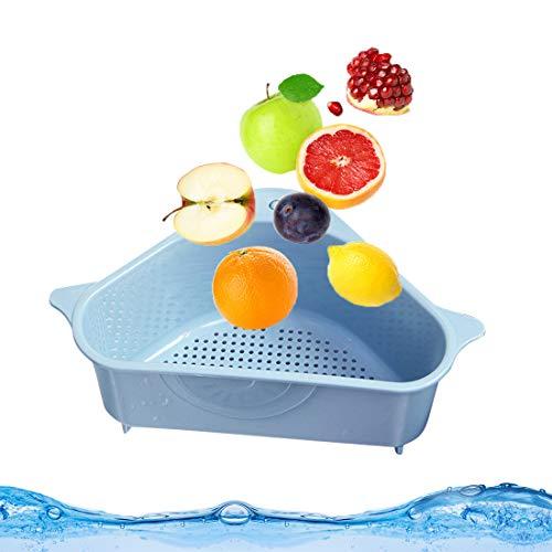 Bluelves Seiher Sieb Abtropfsieb Set, Waschbecken Filterablage Dreieck Lagerregal, Spülbecken Sieb über Spüle, Gemüse/Obst Küche Sieb Korb ablassen(Blau)