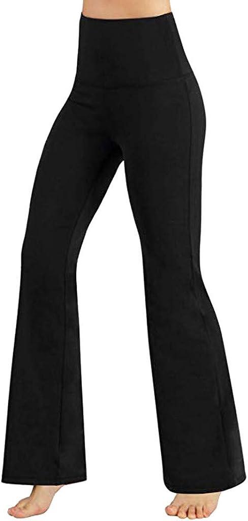 FUNEY Women's Yoga Bootcut Pants High Waist Workout Bootleg Yoga Pants Tummy Control Straight-Leg Comfy Stretch Pants