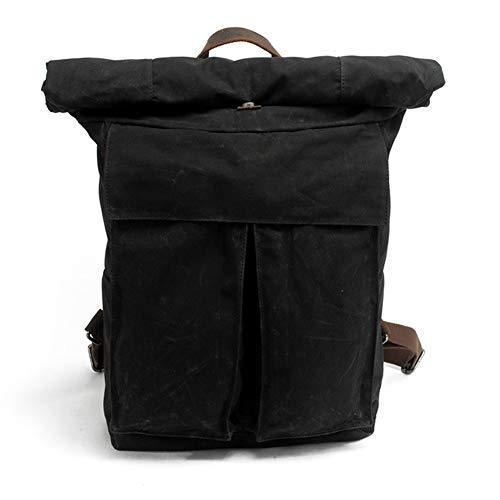 NIMYEE Kuhfell Vintage-Rucksack/Rucksack für Laptop-Reisen Schule Arbeit/wasserdichte Rucksack Leichter Art und Weise beiläufige Durable/Männer & Frauen,Schwarz