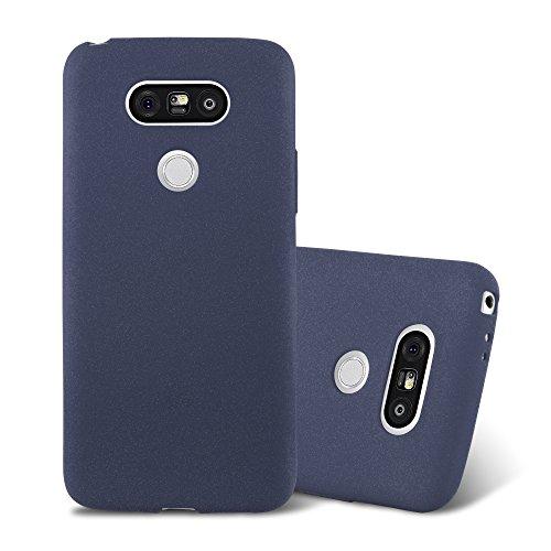 Cadorabo Custodia per LG G5 in FROST BLU SCURO - Morbida Cover Protettiva Sottile di Silicone TPU con Bordo Protezione - Ultra Slim Case Antiurto Gel Back Bumper Guscio