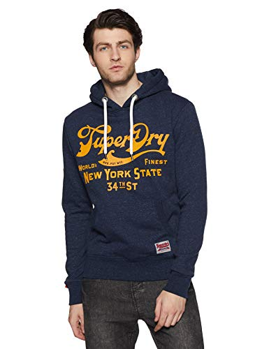Superdry 34th St Hood Pull, Bleu (Montana Blue Rugged Yj6), Large Homme
