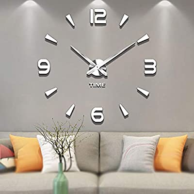 Vangold Decorative DIY Wall Clock Frameless Wall Clock with 3D Mirror Large Number for Living Room/Bedroom/Home Wall Decorations (Silver)