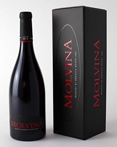 MOLVINA Rotwein Premium Vintage GOLD 2015   Satin-glatte rote Beere   Ronchi di Brescia Rosso   Aus einem italienischen Boutique-Weingut, Eichenfass 60 mnt gereift   1 x 75 cl Flasche