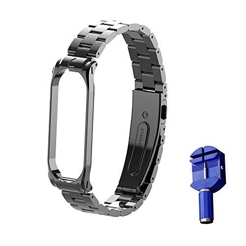 WANFEI Ersatz Armbänder für Xiaomi Armband Mi Band 4 / Mi Band 3 Strap, Band 4 Metallarmband Ersatzarmbänder Ersatz Strap Erweiterbar Armband für Xiaomi Mi Band 4 / Mi Band 3 (schwarz 3)