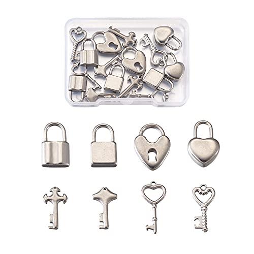 Beadthoven 24 colgantes de acero inoxidable con cerradura de llave, 8 estilos, estilo vintage, con forma de corazón, para hacer manualidades