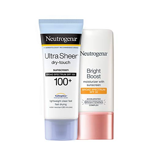 Neutrogena Ultra Sheer Dry-Touch Water Resistant and Non-Greasy Sunscreen Lotion 3 fl. Oz With Bright Boost Facial Moisturizer 1.0 fl. Oz
