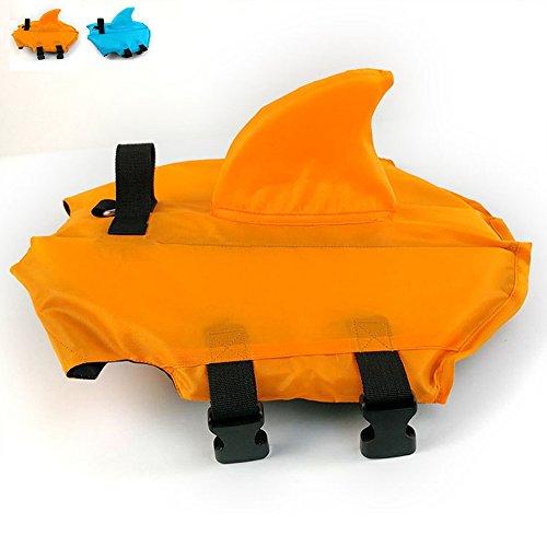 SNIK-S Dog Life Jacket- Preserver with Adjustable Belt, Pet Swimming Shark Jacket for Short Nose Dog (Pug,Bulldog,Poodle,Bull Terrier) (S, Orange)