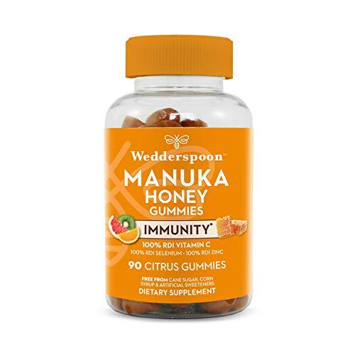 Wedderspoon Manuka Honey Immunity Gummies, Vitamin C & Zinc Support, 90 Chewables, Tangy Citrus