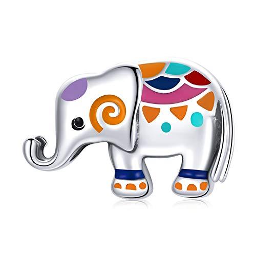 HMMJ S925 Sterling Silver Charms Beads, Color Goteo Elefante DIY DIY Hecho a Mano Animales Lindos Colgante Compatible con Pandora Troll Chamilia Pulsera Europea Collares