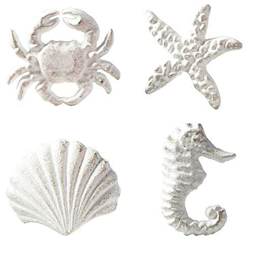 MechWares-Retro Marine Style Cast Iron Drawer Handle-Kitchen Cabinet Wardrobe Closet Hardware-Pattern of Hippocampus|Starfish|Crab|Scallop (4, White)