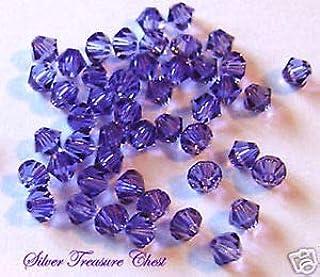 30PK Tanzanite Swarovski Crystal Bicone 4mm Bead 5301 Crafting Key Chain Bracelet Necklace Jewelry Accessories Pendants