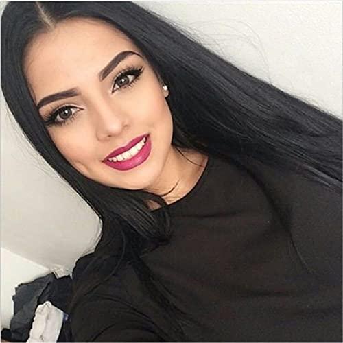 Peluca larga recta negra para mujer, natural, sedosa, parte media, resistente al calor, peluca sintética para uso diario, juego de rol de fiesta (lanse, S1)