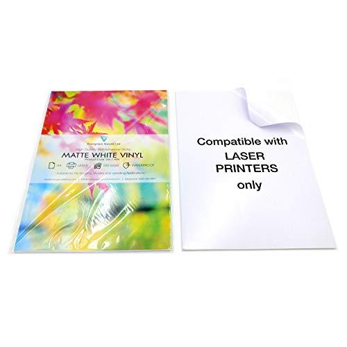 Fogli A4di qualità, impermeabili, in vinile, opachi, autoadesivi, per stampanti laser, confezione da 10, colore bianco
