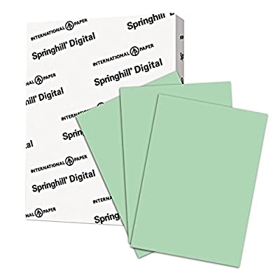 Springhill Green Colored Paper, 24lb Copy Paper, 89gsm, 8.5 x 11 printer paper, 1 Ream / 500 Sheets - Pastel Paper with Smooth Finish (024041R)