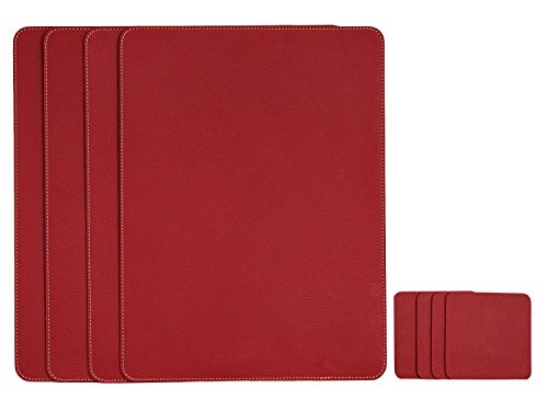 Artikle Leather Co Set Of 4 Placemats And 4 Coasters, Place Mats 40 X 30 Cm And Coasters 10 X 10 Cm