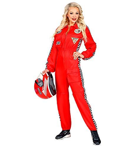 Widmann Rennfahrer Kostüm Overall Jumpsuit rot Anzug exklusiv (Damen Overall, Large)