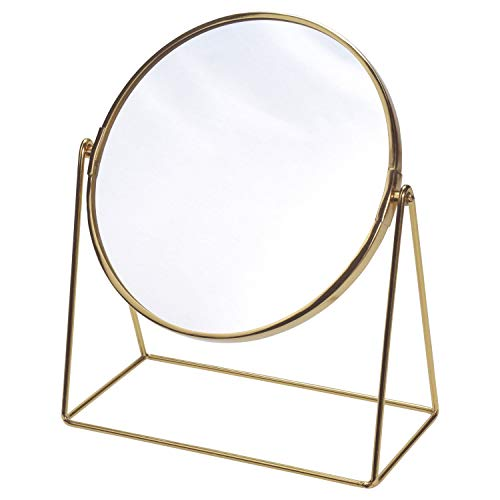 Tischspiegel 26x13xH30cm, rund Spiegelfläche schwenkbar, Metallgestell Gold Retro-Look, Kosmetikspiegel Schminkspiegel