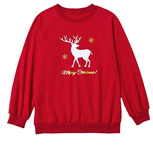 minjiSF Sudadera Navidad Navideño Sudaderas Navideñas Familiares Niño Niña Hombre Mujer Reno Sweaters Estampadas Pullover Cuello Redondo Largas Chica Chico Invierno Anchas Basicas