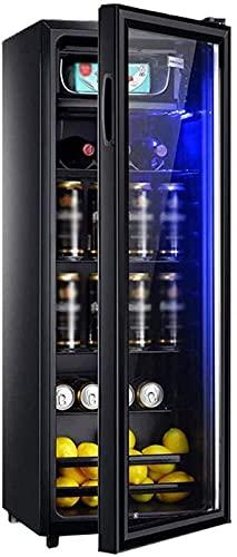 CJDM Enfriador de Bebidas con Puerta de Vidrio y luz LED, Enfriador de Bebidas y refrigerador, Vidrio para Puerta de Mini refrigerador, Enfriador de Bebidas pequeño - Bolígrafo de Vidrio de Doble