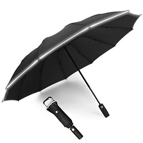 BFGTOR 12 Varillas Paraguas Plegable automático, Ligero Compacto portátil Paraguas con Tira Reflectante, Paraguas de Viaje para Mujeres y Hombres(Negro)