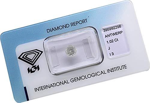 Diamant 1,02 ct/Karat, Farbe: J, Reinheit: I3, Schliff/Glanz/Symmetrie: GOOD/GOOD/GOOD, IGI Zertifikat