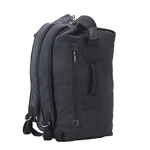 Mens Large Canvas Backpack Holdall Duffel Bag Durable Travel Rucksack Tactical Hiking Weekend Daypack(55cm/21.7inch,black upgrade)