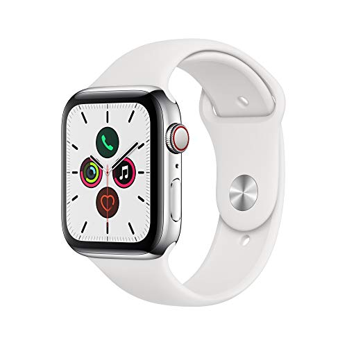 Apple Watch Series 5 (GPS + Cellular, 44mm) - ​ Stainless Steel Case with White Sport Band