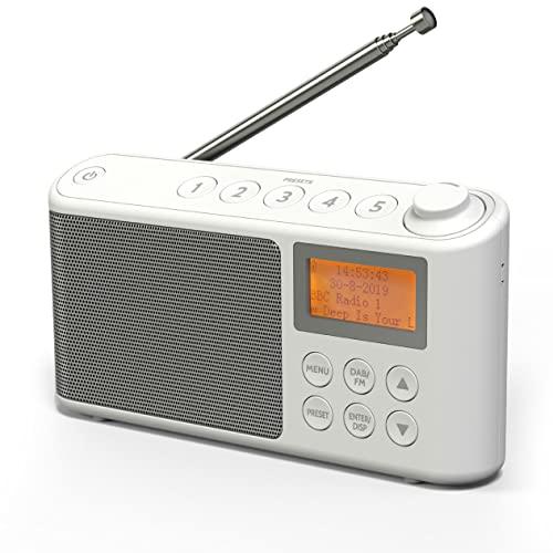 DAB/DAB Plus/FM Radio, Klein Digitalradio Tragbares Batteriebetrieben, Mini Radio Digital Akku & Netzbetrieb Kofferradio, USB-Ladekabel (Weiß)