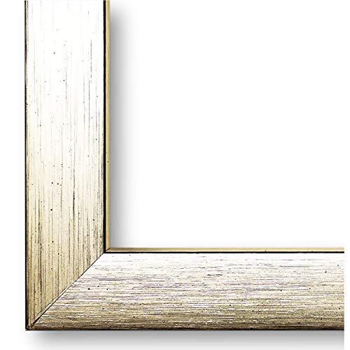 Online Galerie Bingold Bilderrahmen Erlangen Silber, Kante Schwarz 2,0 I 25 x 50 cm mit Plexiglas (WRP) I handgefertigte Holz Urkundenrahmen I Holzrahmen mit Glas I inkl. Montagematerial