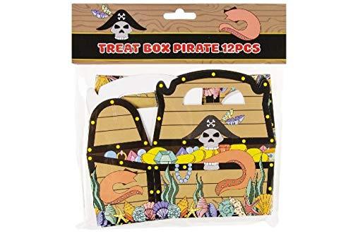 Schnooridoo 12 x Treat Box Pirat Seeräuber Schatzkiste Gastgeschenk Geschenkbox Kindergeburtstag