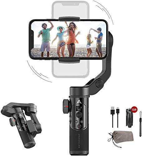 AOCHUAN Smart XR 3-Axis Handheld Gimbal for Smartphone, Foldable Small Pocket Size 250g Max. Payload iOS und Android Supported Combined Zoom Dual Focus Control LCD Bildschirm
