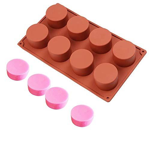 Moldes Silicona Jabon Redondo Molde Silicona Reposteria Moldes Jabon 8 Hueco Moldes para Jabones Bricolaje Moldes Silicona para Pasteles, Dulces, Jabón Hecho a Mano, Bollos (Rojo, 8 Holes)