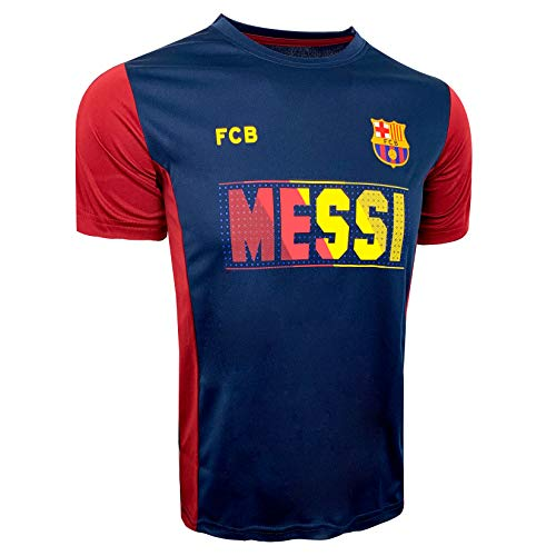 Messi Poly Jersey for Kids, Lionel Messi Name and Number T-Shirt (Youth Large 10-12 Years) Marron