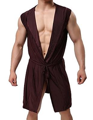 Haseil Men's Silk Kimono Bathrobe Hooded Sleeveless Open Front Sleepwear Pajamas