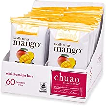 Chuao Chocolatier Totally Tangy Mango Mini Chocolate Bars 24Pack (.39 oz mini bars) - Best-Selling Chocolate Pack - Gourmet Artisan Dark Chocolate - Free of Artificial Flavors