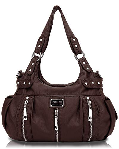 Scarleton Satchel Handbag for Women, Ultra Soft Washed Vegan Leather Crossbody Bag, Shoulder Bag, Tote Purse, Coffee, H129221