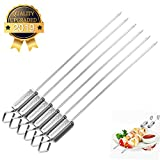 """Yeeteching Kabob Skewers, 16"""" Stainless Steel Grilling Skewers with Quick Release Metal Sliding Handle,Reusable BBQ Sticks for Meat and Veggies"""