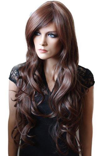 Prettyshop - Perruque pour femme, cheveux longs ondulés, résistante, plusieurs couleurs et styles disponibles marrone scuro # 2/33 fp718