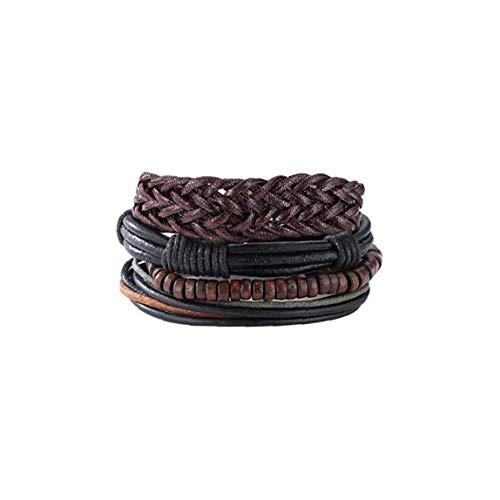NaisiCore Bolso de Cuero del cáñamo Pulseras Ajustable Tejido a Mano la Cuerda Trenzada del Cable Cadena de la Pulsera para el Conjunto de Joyas Hombres Mujeres