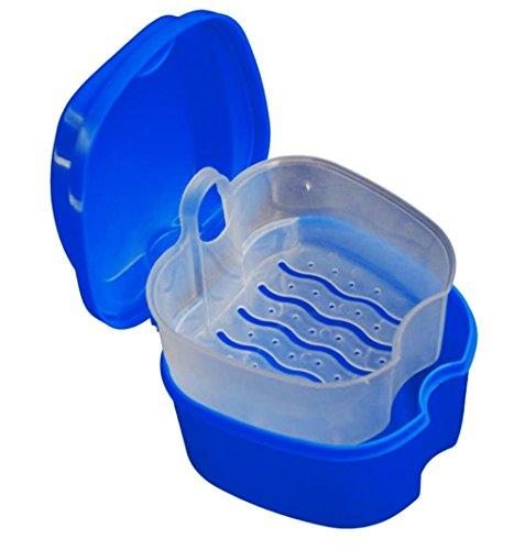 Conqueror Zahnprothesen PP-Behälter Prothese Bad Box Fall Dental False Teeth Aufbewahrungsbox mit Hanging Net Container (Dunkelblau)
