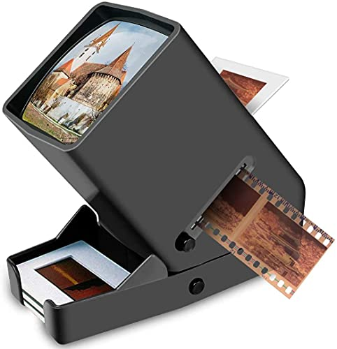 DIGITNOW 35mm Slide and Film Viewer, 3X Magnification, Battery Operation, LED Lighted Illuminated Viewing –for 35mm Slides & Positive Film Negatives(4AA Batteries Included)
