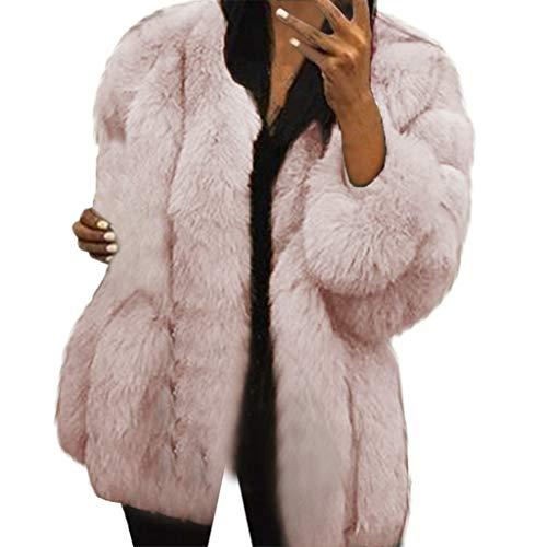 KaloryWee Plus Size Elegante Damenjacke Pelzmantel Wintermantel Kunstpelz Warme Jacke Oberbekleidung Outwear Tops S-5XL