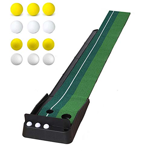 oftoto Golf Putting Mat Indoor - Simulated Turf Auxiliary Golf Practice Putting Mat with Automatic...