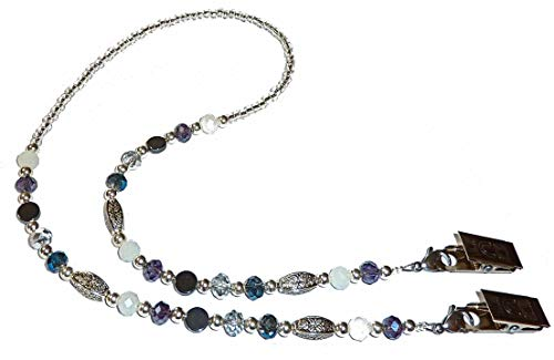 """Face Mask Holder Artistic Beaded Necklace Strap, Made in USA, Decorative Fashion Leash, Holds Face Mask Around Your Neck 25"""" Long (Multi)"""