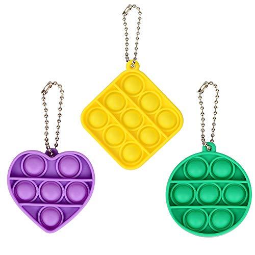 Pop it Fidget Toy Packs, MMTX Popit Fidget Toy Barato Juguetes Antiestres, Pop it Barato Bubble Mini Niños y Adultos(Amarillo + Verde + Morado)