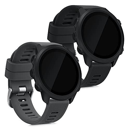 kwmobile Pulsera Compatible con Garmin Forerunner 55-2X Correa de TPU para Reloj Inteligente - Negro/Gris