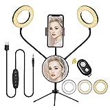 Anillo de Luz LED Ring Light Doble 5 Pulgadas, Aro de Luz Regulable de 5colores 6 Modos de...
