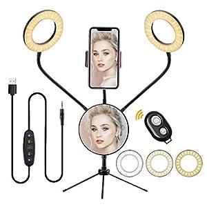 Anillo de Luz LED Ring Light Doble 5 Pulgadas, Aro de Luz Regulable de 5colores 6 Modos de Lucescon Trípode Soporte Movil y Espejo para Selfie Maquillaje Fotografia Youtube TIK Tok Videos