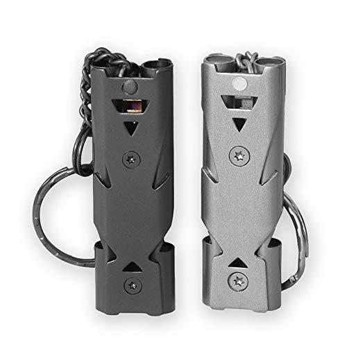 Lot de 2 sifflets de survie en acier inoxydable avec double tube à décibels hauts portatifs, outils multifonctions pour l'école, le football, le basket-ball et la protection des sauveteurs