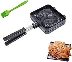 MINI-FACTORY Taiyaki Fish-shaped Pancake Japanese Waffle Cake Maker Pan + Bonus Oil Brush - Black
